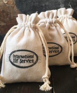 Official natural linen International Elf Service™ Gift Bags - perfect to fill for a Christmas Stocking Filler, or for your Christmas Elf to leave a small gift in!