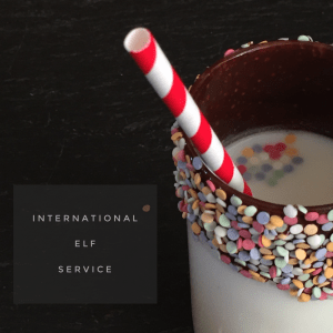 Surprise the kids with a chocolate and sprinkle coated glass on Christmas morning for a North Pole Breakfast. International Elf Service