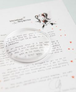 No Tooth Fairy letter is complete without a lovely dew drop magnifying lens to read it with either. Well you don't need one really, but it does make it easier, PLUS it's so much more fun! International Fairy Service